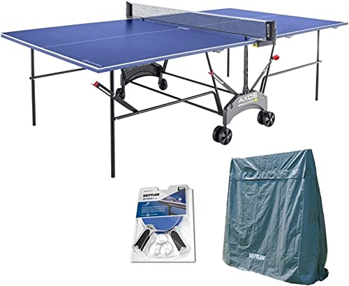 Kettler Outdoor Table Tennis Table – Axos 1 with Outdoor Accessory Bundle 2 Halo 5.0 Paddles, Cover, and Balls.