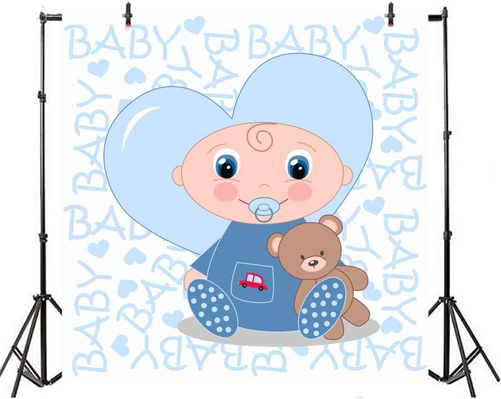 SZZWY 5x5ft Cartoon Cute Boy Baby Shower Backdrop Vinyl Cute Baby Sucking Nipple with Bear Toy Heart Design Illustration Blue Photo Background Boy Baby Shower Party Banner Child Baby Shoot