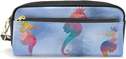 Estuche para lápices, diseño de caballito de mar bajo el mar, bolsa de maquillaje de viaje de gran capacidad, piel impermeable, 2 compartimentos para niñas, niños, mujeres y hombres: Amazon.es: Oficina y