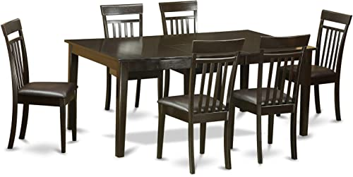 East West Furniture 7-Pc Dining Room Set Included a Self-Storing Butterfly Leaf Rectangular Dining Table and 6 Mid Century Dining Chair