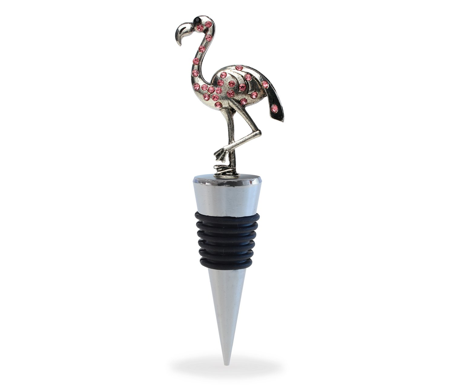 Puzzled Flamingo Wine Bottle Stopper Unique Well Crafted 5 Inch Metal Plug With Pink Crystals - Reusable Champagne Preserver Perfect Wine Lover Decor Gift - Animals Collection - Cheers 6058
