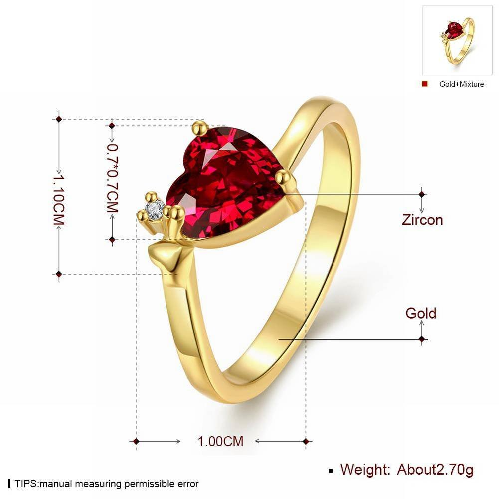 K Gold Zircon Popular Classic Heart-Shaped Ladies Ring , gold , 8