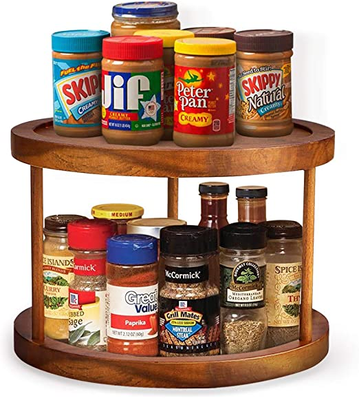Amazon Com Aidea Lazy Susan Kitchen Pantry Cabinet Countertop Lazy Susan Turntable Rotating Turntable Organizer 2 Tier 10 Kitchen Dining