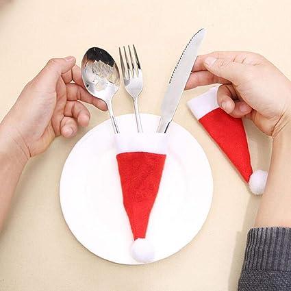 Weihnachten Besteckhalter Weihnachtsmutze Dekoration Bestecktaschen