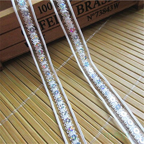 (10 Meters Sequins Beaded Band Lace Edge Trim Ribbon 1.3 cm Width Vintage Style White Edging Trimmings Fabric Embroidered Applique Sewing Craft Wedding Bridal Dress Embellishment DIY Clothes Embroidery)