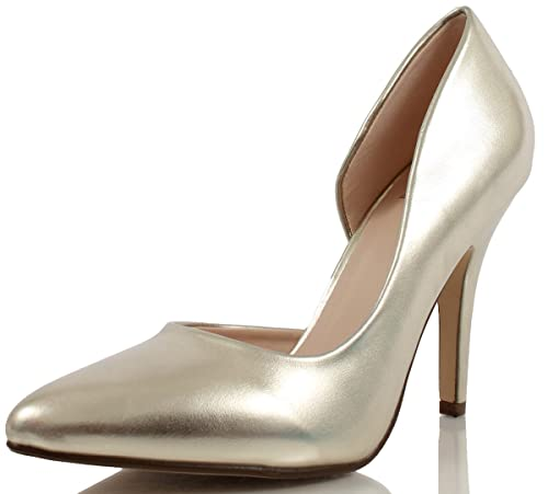 5222257ffeb Delicious Women s Faux Leather Pointed Toe Single Toe Heel Pumps (Gold