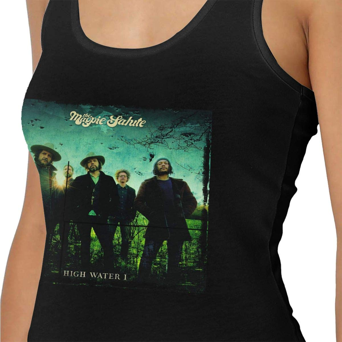 Dwight E Hoskins The Magpie Salute Womans Cotton Running Workouts Clothes Yoga Tank Tops Black