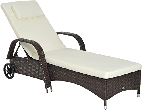 Outsunny Outdoor Rattan Wicker Chaise Lounge Chair