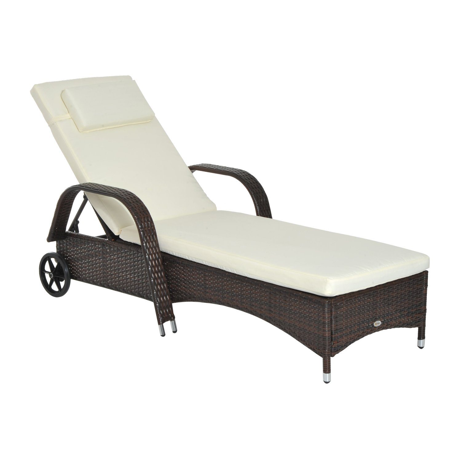 Outsunny Outdoor Adjustable Rattan Wicker Chaise Lounge Chair - Mixed Brown by Outsunny