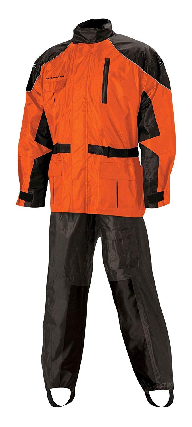 Nelson Rigg AS-3000-ORG-04-XL Unisex-Adult AS-3000 Aston Motorcycle Rain Suit 2-Piece, (Orange, X-Large)