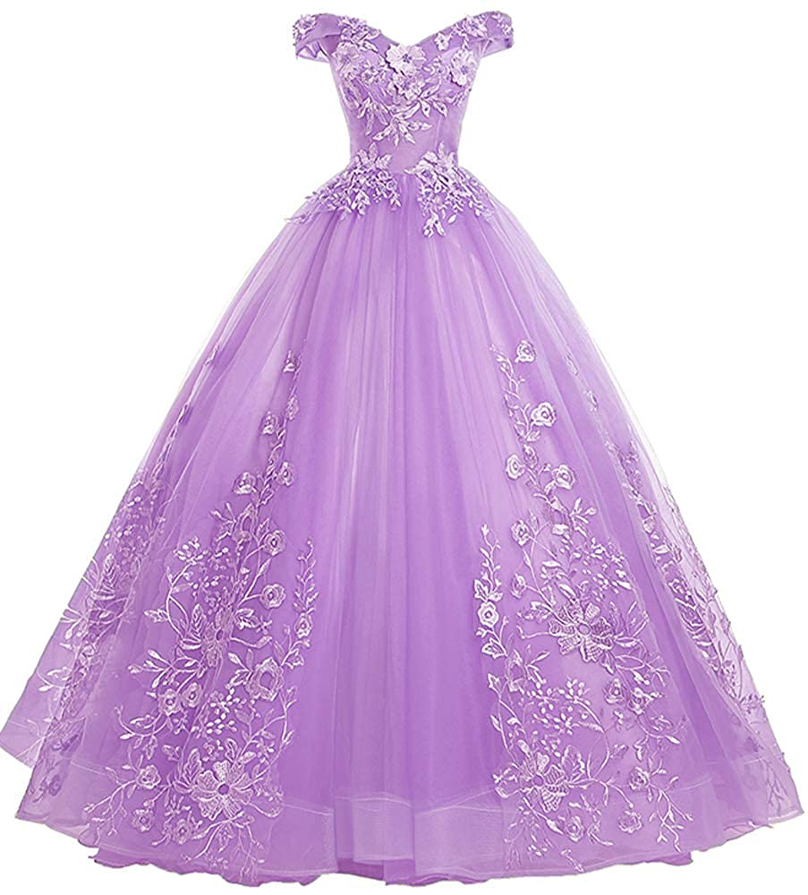 Lavender EileenDor Women's Quinceanera Dresses Lace Appliques Off Shoulder Ball Gown Sweet 16 Dresses with Pearl