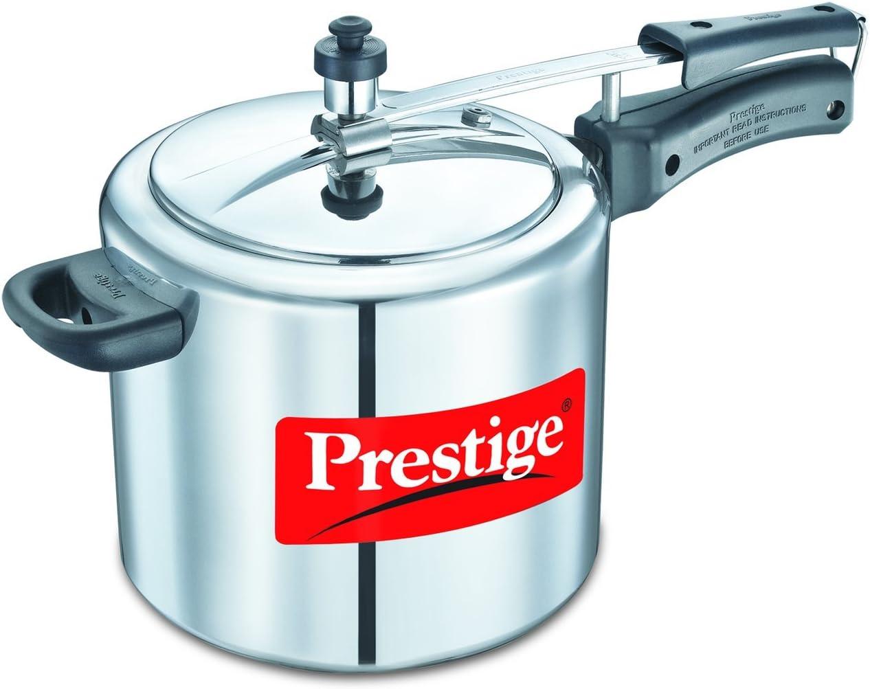 Prestige PRNPC5 Nakshatra Plus 5-Liter Flat Base Aluminum Pressure Cooker for Gas and Induction Stove, Medium, Silver