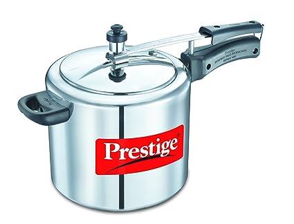 Prestige Nakshatra Plus Flat Induction Base Aluminium Pressure Cooker, 5 Litres, Silver