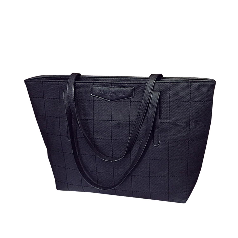 Women Handbag,Women Bag, KINGH Vintage Grid Causal Big Shoulder Bag PU Leather Leisure Tote 070 Black