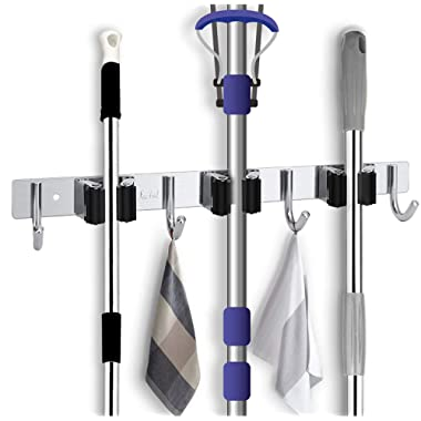 Favbal Broom Mop Holder Wall Mount Stainless Steel Wall Mounted Storage Organizer Heavy Duty Tools Hanger with 3 Racks 4 Hooks for Kitchen Bathroom Closet Office Garden