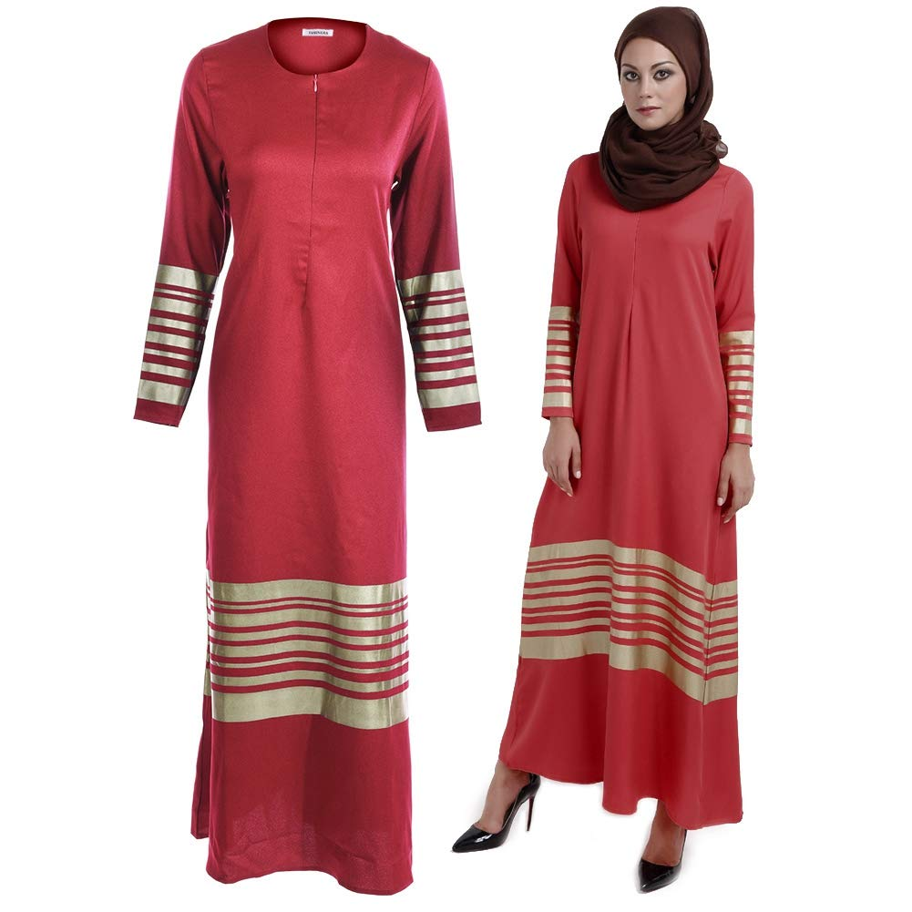 Women Muslim Style Polyester Clothes Round Collar Long Sleeve Loose Maxi Dress Black L