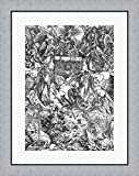 opening the 7th seal - Scene from the Apocalypse, The Opening of the Seventh Seal by Albrecht Durer Framed Art Print Wall Picture, Flat Silver Frame, 24 x 30 inches