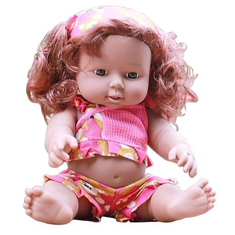 de8f52b493dc5 feiXIANG Bambola Africana Simulazione Nera Bambina Bambolotto Neonato  Reborn Interattivi Vestiti Cicciobello Bambolina Giocattolo Baby Doll