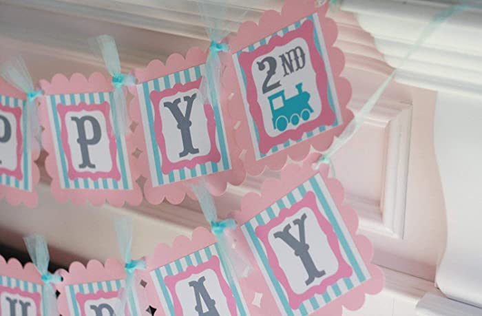 Happy Birthday Vintage Train Girl Light Pink Blue Stripe OR Navy Theme