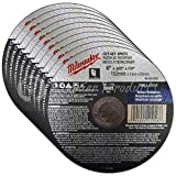 Milwaukee 10 Pack - 6 Inch Cutting Wheels For Grinders - Aggressive Cutting For Metal & Stainless Steel - 6'' x .045 x 7/8-Inch | Flat Cut Off Wheels
