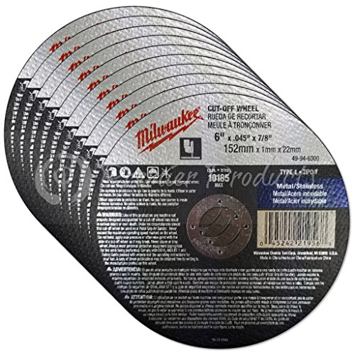 Milwaukee 10 Pack - 6 Inch Cutting Wheels For Grinders - Aggressive Cutting For Metal & Stainless Steel - 6