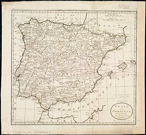 Historic Map | 1796 Spain and Portugal from the best authorities | Antique Vintage Reproduction by historic pictoric
