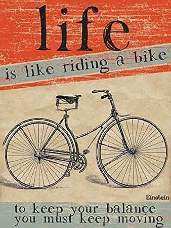 La vida es como andar en bicicleta pequeña muestra de acero (og ...