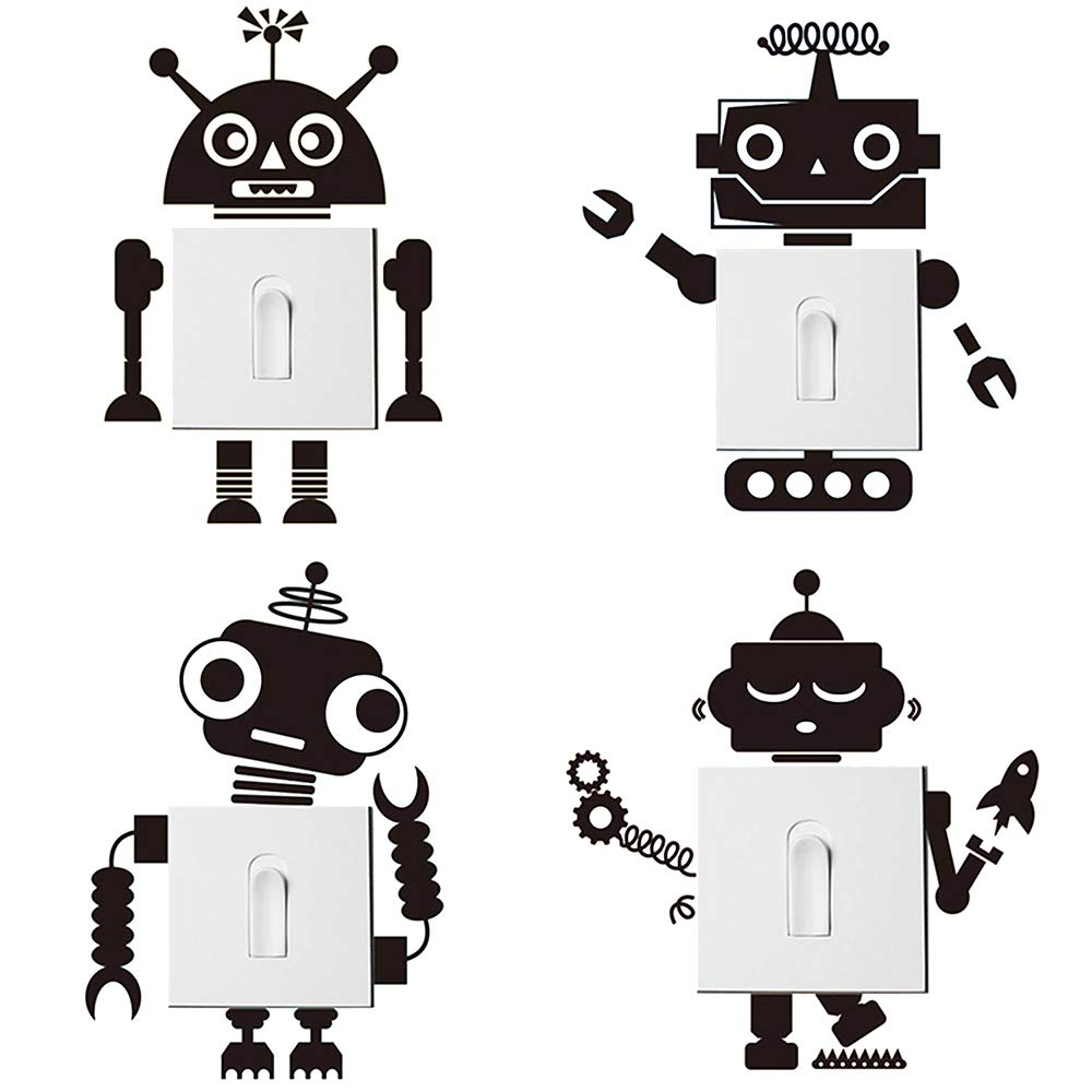 decalmile 4 Pièces Noir Robot Stickers Interrupteur Amovibles Vinyle Autocollant Stickers pour Chambre Bébé Chambre Enfant Salle De Classe Yanfeng