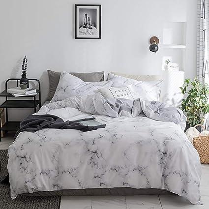 Amazon.com: Duvet Cover Set White Marble 3 Piece Bed Set 100% Cotton ...