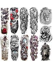 COKTAK Tatuaże tymczasowe dla mężczyzn, 11 arkuszy na całe ramię, wodoodporne, Fake Warrior Tatoos, naklejki, wilk, lew, tygrys, duże kobiety, nogi, tatuaż tymczasowy, zwierzęta, dorośli