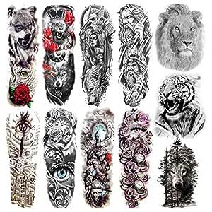 COKTAK 11 Hojas Full Brazo Completo Tatuajes Temporales Adultos ...