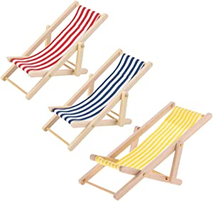 KODORIA 3pcs 1:12 Miniature Foldable Wooden Beach Chair Mini Deck Chair Longue Deck Chair Mini Furniture Accessories with Red/ Blue Stripe for Indoor Outdoor