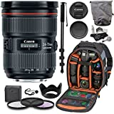 Canon EF 24-70mm f/2.8L II USM Standard Zoom Lens, 82mm Filter Set, Cleaning Kit, Ritz Gear Photo Backpack and Accessory Bundle
