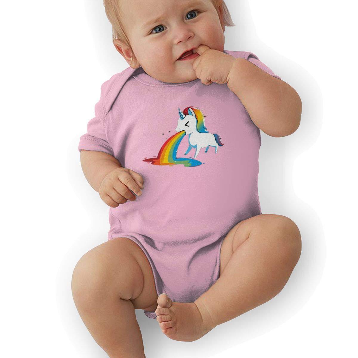 Unicorn Rainbow Puke Newborn Baby Short Sleeve Romper Infant Summer Clothing