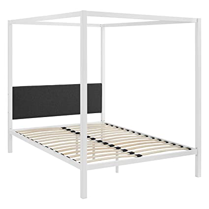 Amazon.com: Modway MOD-5570-WHI-GRY Raina Canopy Bed Frame, Queen ...