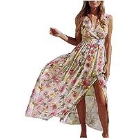 Vestidos Playeros Mujer Verano 2020 Playa Vestido Largo Elegante con Cuello En V Y Estampado De Gasa Sin Mangas para…