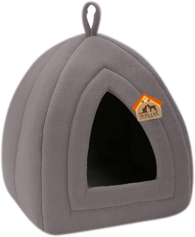Hollypet Self-Warming 2 in 1 Foldable Comfortable Triangle Cat Bed Tent House, Dark Gray : Pet Supplies