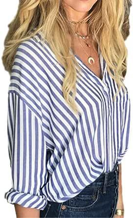 Chilie Camisa de rayas azules y blancas para mujer Camisa ...