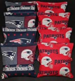 CORNHOLE BEAN BAGS w NEW ENGLAND PATRIOTS fabric on both sides of logo bags NEW!