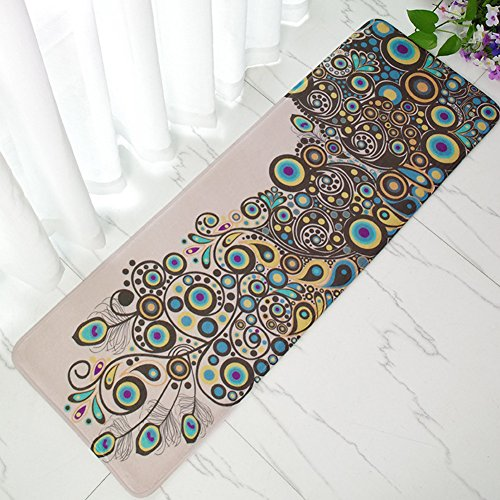 INCX Non-slip Kitchen Mat Doormat Bath Mat Entrance Rug Indoor/Outdoor Floor Mat 16-Inch by 47-Inch Peacock