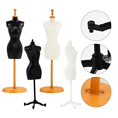 EXCEART 6 Pcs Doll Dress Form Cloth Gown Demountable Display Support Holder Mannequin Model Stand Kit Mannequin Body Torso Mini Display Holder Doll Mannequin Stand Doll Clothes Display Support
