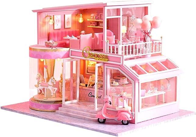 CASA di bambola di legno con dettagli Furniture Set in miniatura FAI DA TE ROSA regalo ragazze camera