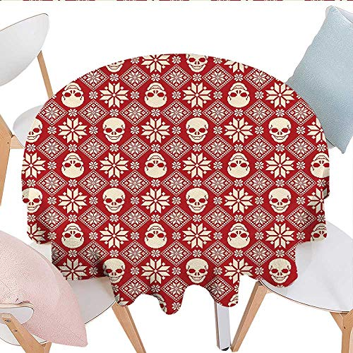 Stitch Shimmer (Home-textile-print Nordic Customized Round Tablecloth Nordic Stitch Skull Pattern with Snowflakes and Floral Design Ornamental Knit Design Waterproof Circle Tablecloths D54 Red Beige)