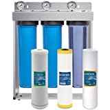 "Express Water Whole House Water Filter System Carbon KDF Sediment 3 Stage Filtration 4.5"" x 20"" Inch"