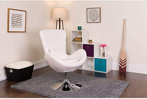 Flash Furniture Egg Series White LeatherSoft Side Reception Chair