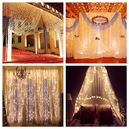 ZSTBT UL Safe 304 LED 9.8Feet Connectable Curtain Lights Icicle Lights Fairy String Lights with 8 Modes for Wedding Party Family Patio Lawn Decoration ()