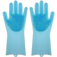 Guantes lavaplatos de silicon resistentes al calor, con estropajo o cepillo integrado, se puede usar tipo esponja colocando el jabon, ideal para lavar los platos, alfombras, varios colores