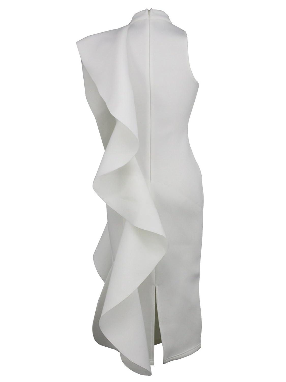 057484823756 White Day Women's Sexy White Sleeveless Patchwork Ruffles Knee-Length  Bodycon Dress at Amazon Women's Clothing store: