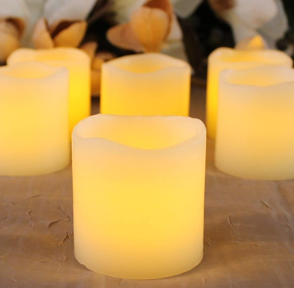 "LED Lytes Battery Operated Candles - Set of 6 Ivory Wax Candles 2"" Tall and 2"" Wide with amber yellow Flame"