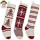 "LimBrige 3 Pack 20"" Large Luxury Knit Knitted Christmas Stockings, Classic Xmas Tree / Snowflake / Stripe, Rustic Personalized Stocking Decorations for Family Holiday Season Decor"